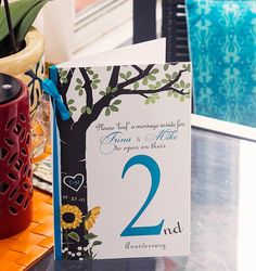 Table Number Anniversary Book Cards - Carved Birch Tree w/Sunflowers   (Color/Font/Text Changes are FREE with Deposit or Digital Purchase)