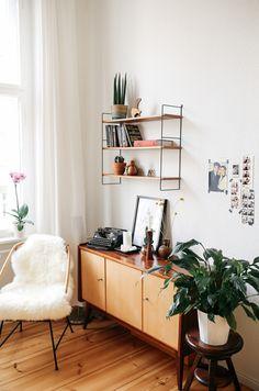 mid century vintae furniture in old apartmet