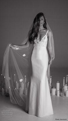 rime arodaky fall 2017 bridal double thin strap deep sweetheart neckline heavily embellished bodice retro sheath wedding dress sweep train (17) mv