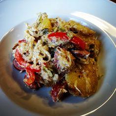 Sauerkraut-Paprika-Pfanne mit Bratkartoffeln und Rindswurst  #food #foodblog #foodporn #mitliebegekocht #pfannengericht #wurst #sauerkraut #paprika #kartoffeln
