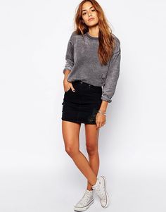 ripped-mini-black-denim-skirt