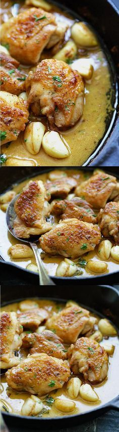 Creamy Garlic Chicken - easy skillet chicken with creamy garlic sauce made with yogurt, white wine and chicken broth. Best with pasta! | rasamalaysia.com