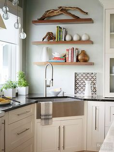 Stacks on stacks of shelves are pretty and fun to fill, plus they perk up your kitchen! Use them to stash spare cook books, dishware, or collectibles.