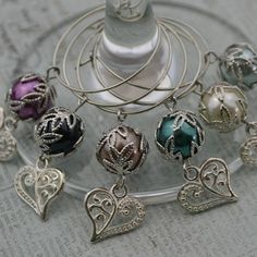 Wine Charms Elegant  Silver Heart Pearl Set of 6 by TipsyDesigns, $16.00