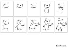 Un pas à pas, pour vous !  Robot 1/2 Camille Piantanida Camille, Illustration, Robot, Drawings, Children, Illustrations, Robots