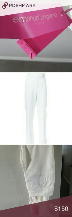 Emanuel ungaro off white pants These are gorgeous!! NWT emanuel ungaro off white pants with a tie ankle detail at the bottom, fully lined, cotton in paros size 42! Equivalent to US size 8, 2nd pic is for inspiration Emanuel Ungaro Pants Straight Leg