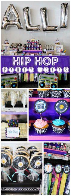 Hip Hop Dancing Kids Birthday Parties Ideas For 2019 Dance Party Kids, Dance Party Birthday, 90th Birthday Parties, 10th Birthday, Birthday Ideas, Fête Hip Hop, Pop Star Party, Estilo Hip Hop, Hip Hop Party