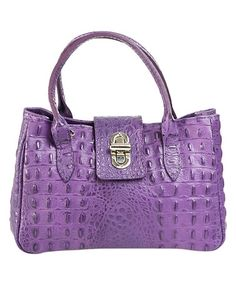 Look what I found on #zulily! Violet Croc-Embossed Turn-Lock Leather Satchel #zulilyfinds