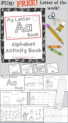 FREE Letter A Alphabet Activity Book! A FUN, interactive way to learn letters! Fine motor skills and counting skills applied too!
