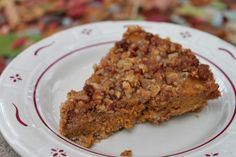 Jennifer from UnrefinedKitchen.com shares a delicious pumpkin pie topped with streusel. It has a nut based crust, a delicious pie filling and a sweet streusel topping. It's a perfect fall dessert and