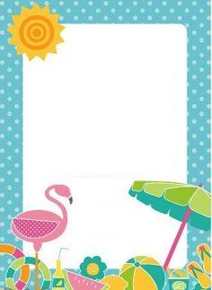 convite tema praia Flamingo Birthday, Flamingo Party, Printable Birthday Invitations, Party Invitations, Baby Dedication, Bday Girl, Class Decoration, Tropical Party, Party Themes