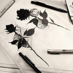 Dark Roses Tattoo, Dark Tattoo, Rose Tattoos, Flower Tattoos, Black Tattoos, Love Drawings, Art Drawings, Flash Drawing, Chic Tattoo