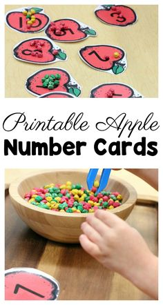 Simple but meaningful number activity for preschool. The apple printable numbers works on fine motor skills and one-to-one correspondence in a FUN way! Preschool Apple Theme, Apple Activities, Number Activities, Preschool Apples, Autumn Activities, Math Games, Maths, Preschool Printables, Preschool Lessons