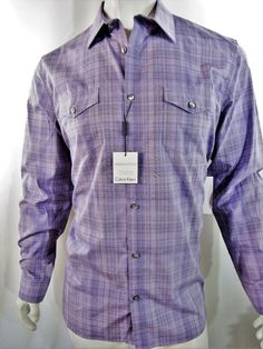 Calvin Klein plaid check long sleeve men's shirt size xxl NEW on SALE  #CalvinKlein #ButtonFront