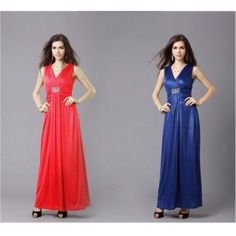 Elegant Sheath V-Neck Empire Beading Georgette Red/Blue Evening Dress