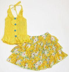LL717-10-7-Y Girls 2-8 Skirt Set