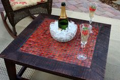 Glass Mosaic Coffee Table  by Kent Hatcher natureinspiredcrafts, $510.00 glass mosaic tile laid up against the very old barnwood