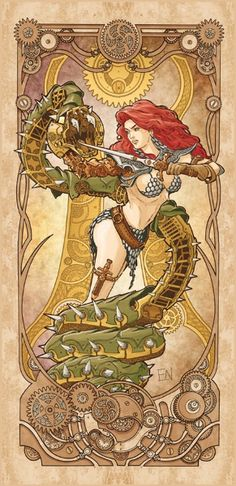 Red Sonja - Luca Maresca #Steampunk  #Pinup