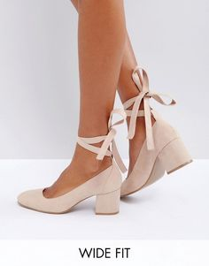 Ballerina Ankle Ribbons Ties Block high heel in nude blush (sponsored affiliate link)