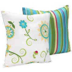 Add a colorful, whimsical touch to your room decor with this decorative throw pillow from Sweet JoJo Designs. Crafted with eye-popping colors such as teal, lime, and red, this pillow features a floral-inspired pattern on front and stripes on the back.