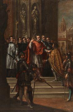 Saint Ambrose denying the emperor Theodosius the entrance into the temple / San Ambrosio negando al emperador Teodosio la entrada en el templo // ca. 1673 // Juan de Valdés Leal