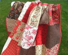 Custom listing for Linda Throw Quilt Josephine HANDMADE Patchwork Quilt French General Moda Red Cream Chocolate 57x67""
