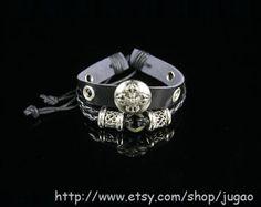 Mens Wax Cord Bracelet Black Leather Bracelet Charm by JuGao, $4.90