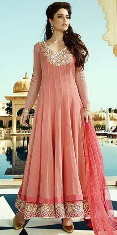 Cheerful Peach Georgette Anarkali Suit With Dupatta.