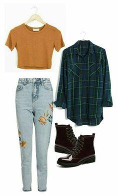 Mustard Crop Top, Dark Green Flannel, Black Combat Boots, Yellow Flower Embroidered Jeans