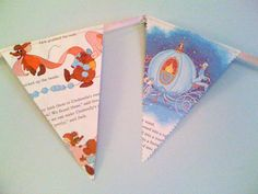 A Cinderella banner, made from pages of the book, better start looking at thrift stores! - someone pinned my bunting! Retro Disney, Disney Mouse, Vintage Disney, Cinderella Baby Shower, Baby Shower Princess, Princess Nursery Theme, Disney Princess Birthday, Cinderella Birthday, Princess Party