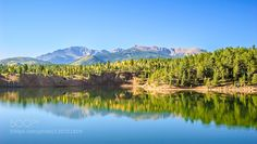 Our Favorite Mountain #delorespoll - Pike's Peak in a fuller view with reflections. The summit is to the left. The fall colors are evident.  Please feel free to leave comments. I love them!