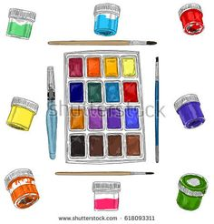 Vector illustration of artist creative set acrylic watercolors and brushes