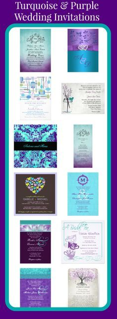 Wedding Program Turquoise and Purple Wedding Invitations for brides using teal, turquoise, and purple as their wedding colors. Purple Wedding Invitations, Personalised Wedding Invitations, Invites, Trendy Wedding, Our Wedding, Dream Wedding, Blue Orchid Wedding, Wedding Rings, Wedding Veils