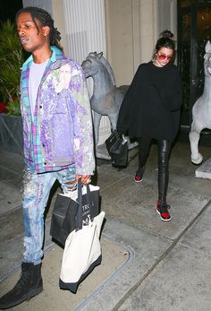 ASAP Rocky Hangs With Kendall Jenner Wearing Charlotte Maëva-Perret Raf Simons Face Jacket, Himumimdead Jeans and Alexander Wang Boots | UpscaleHype