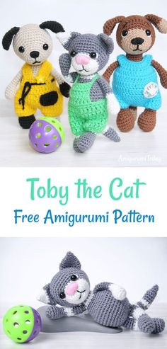 FREE crochet pattern. Meet Toby the Cat, which is just 15 cm tall. Toby is wearing lovely light green overalls, and he likes playing football with his friends, Timmy and Tommy. This crochet toy makes an awesome gift for those who loves cats and football. Create it using this amigurumi pattern.