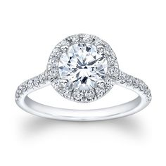 Ladies 14kt white gold artdeco engagement ring with by EVSdesign, $1045.00