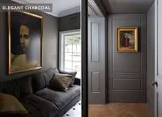 Charcoal Living Rooms, Dark Grey Rooms, Charcoal Walls, Charcoal Paint, Blue Gray Paint, Dark Grey Walls, Black Rooms, Grey Paint Colors, Interior Paint Colors