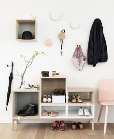 gosto design & lifestyle, blog: NEW Stacked Shelf System Ash backboard in grey, yellow and rose.