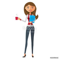 Vector: Business blond woman with a cup of tea and teapot vector flat cartoon illustration.