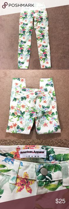 """American Apparel Tropical Print Highwaisted Jeans High waist stretch jeans with a fun Tropical print. 98% Cotton and 2% Elastane. Straight Leg Skinny Jeans. 27"""" Inseam and 10"""" Rise. Palm trees and flamingos. American Apparel Jeans Skinny"""