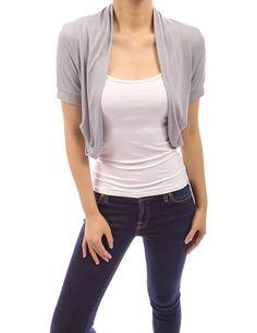 PattyBoutik Beautiful Short Sleeve Shrug Cardigan Top (Light Grey L)