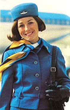 """""""Stewardess"""" style, back in the day. Airline Attendant, Flight Attendant, Air Hostess Uniform, Royal Dutch, Trolley Dolly, Airline Cabin Crew, Fly Around The World, Airline Uniforms, Intelligent Women"""