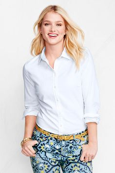 Women's Long Sleeve Washed Oxford Shirt, 44.00 -  Lands' End