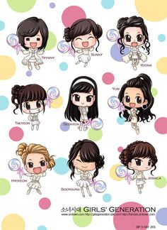Girls Generation Is Cute In Chibi! Anime Chibi, Kawaii Chibi, Cute Chibi, Anime Art, Girls Generation, Cute Drawlings, Jessica Jung Fashion, Chibi Girl, K Idol