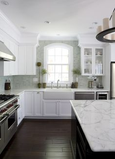 Kitchen Backsplash Tile Samples Design, Pictures, Remodel, Decor and Ideas - like how it goes right to the ceiling near the window