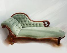 Victorian Chaise Lounge -Aquas