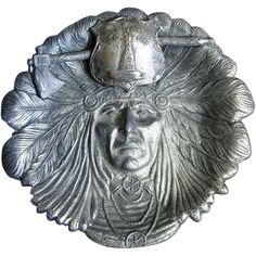 Early 1900's Indian Head Bronze Coated Spelter Souvenir Ashtray / Trinket Tray, Native American Motif
