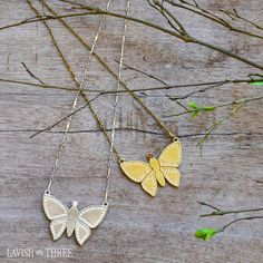 """Outlined with bright clear crystals, our butterfly necklace will glisten as it lands beautifully around your neck. A simple embellishment for a special occasion or wear everyday for """"renewed"""" sparkle!"""