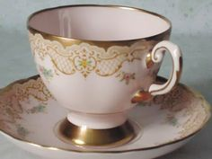 Pastel Pink Jeweled Tea Cup and Saucer Set - Shabby Chic Pink Teacup and Saucer - Teacups and Saucers. via Etsy.