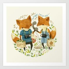 Fox Friends Art Print by Teagan White | Society6